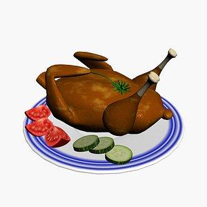 fried chicken cartoon 3D model