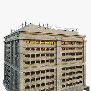 3D city street work building model