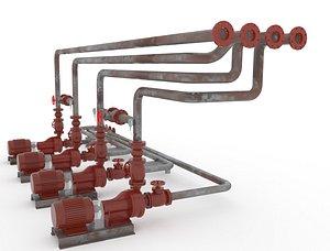 Fire pump station 3D model