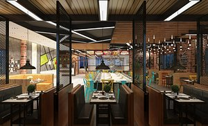 Restaurant Industrial restaurant Western restaurant Bar Cafe Cafeteria Fast food restaurant Music re 3D