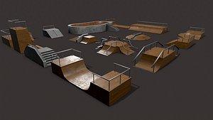 Lowpoly Modular Skatepark 3D