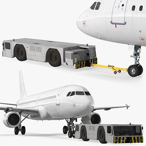 3D Aircraft Tractor Towing Airbus A320 model