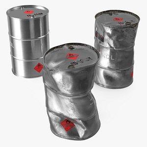 ethanol metal barrels set 3D model