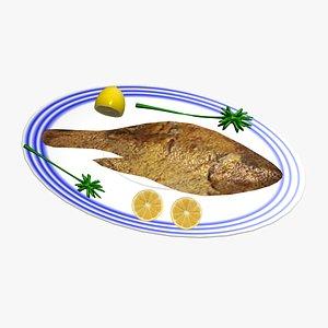 fish fried 3D model