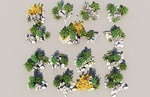 3D Rockery stone outdoor landscape sketch plant flower bed