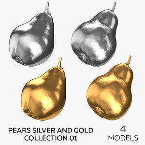 Pears Silver and Gold Collection 01 - 4 Pears 3D model