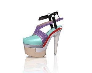 Colorful Mixed Heels 3D model