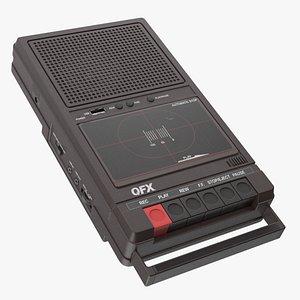 3D QFX RETRO 39 Shoebox Tape Recorder Brown