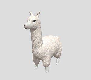 3D White Lama model
