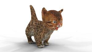Cure Kitten Fur Animated 02 3D model