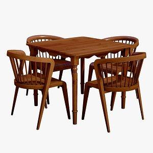 3D Modern Dining Table 4 Seater model