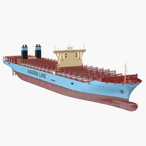 3D Maersk McKinney Moller Container Ship Empty