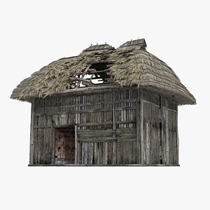 3D The shabby thatched houses of ancient times