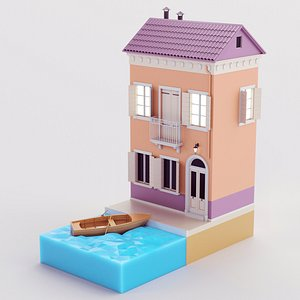 Cartoon Building 03 3D model