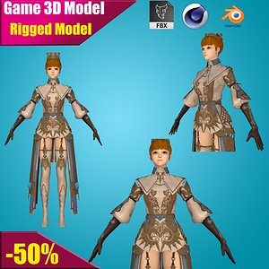 warrior rigged girl 3D