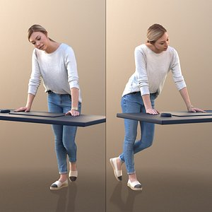 3D model 10074 Ramona Young Woman Leaning on Desk