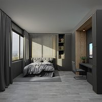 Bedroom Dark - Hotel Room