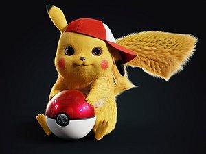 3D Pikachu-3dModel|3d ashcap| 3dpokeball