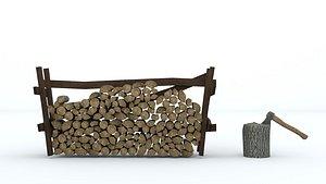 wood axe firewood 3D model