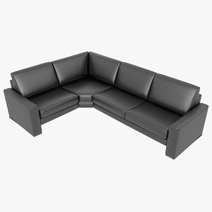 modular sofa leather black 3D model