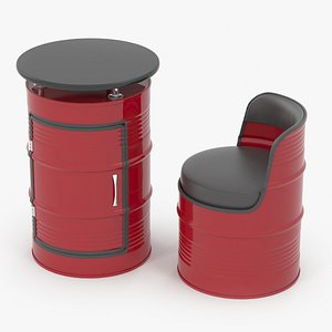 3D Barrel Table and Chair
