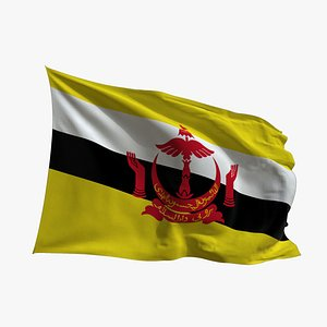 3D model Realistic Animated Flag - Microtexture Rigged - Put your own texture - Def Brunei