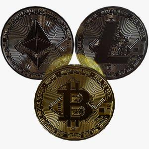 bitcoin litecoin 3D