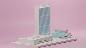 3D model united nation headquarter