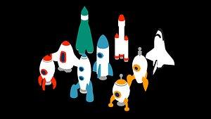3D rockets icon