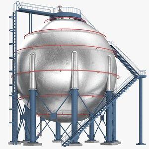 Spherical Metal Oil Storage 3D model