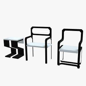 3D minimalistic sci-fi chairs