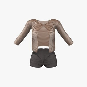 3D Open Front Sheer Shirt and Shorts