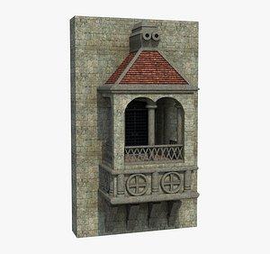 3D Old Balcony Castle