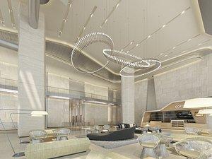 3D model office building lobby
