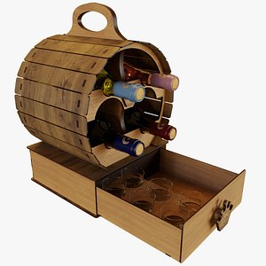 3D Barrel Wine Rack with Bottles and Glasses model