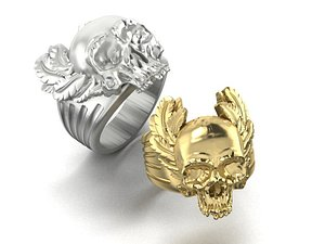 3D mens ring skull feathers