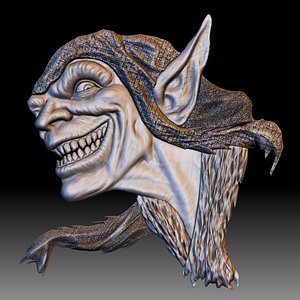 3D Goblin low relief for CNC router or printer model