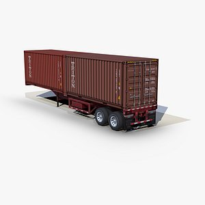 3D container 20ft chassis trailer model