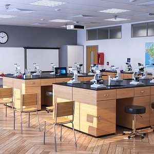 School Laboratory Interior Scene 3D model