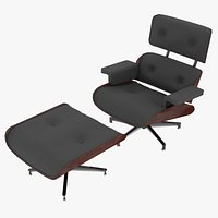 Eames Lounge Classic Chair and Ottoman Set Charcoal Fabric Mahogany Details