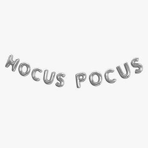 3D Foil Baloon Words HOCUS POCUS Silver