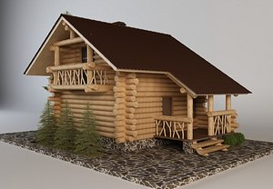 3D Finnish house with sauna model