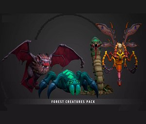 Stylized Fantasy Forest Creatures 3D model