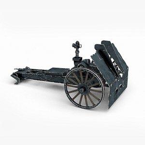 3D Mini two-man gun WWII weapon