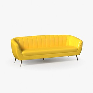 glossy yellow sofa 3D model