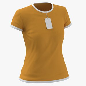 Female Crew Neck Worn With Tag White and Orange 02 3D