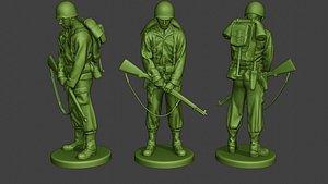 3D soldier ww2 praying2 american