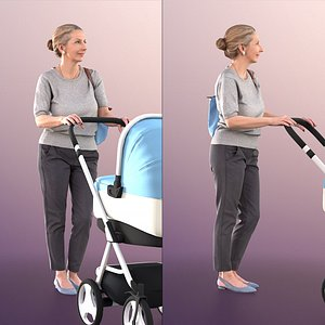 3D woman elderly stroller