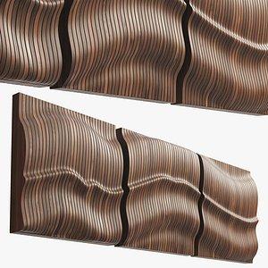 Joybird Legna Panels Wall Art Set of 3 3D model