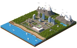 3D model Low Poly Mini city